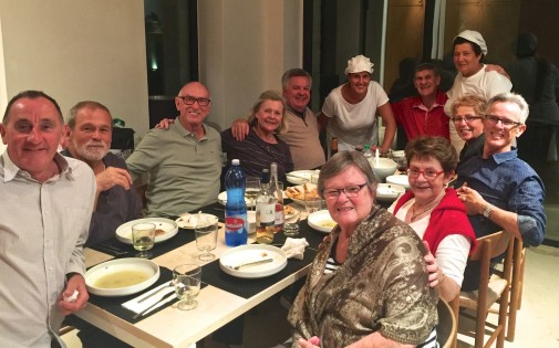 Week 1 'Musgrave family' guests with our 'Pugliese family' chefs (on a wet night eating around the kitchen table.