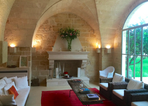 The public areas and guest rooms are simple and contemporary but retain the limestone characteristics of the region including barrel-vaulted ceilings.