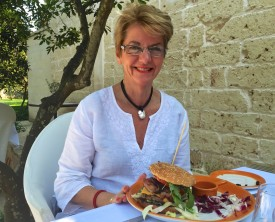 After sightseeing in Lecce the following week, we return to the Masseria for one of Rob's 'Aussie' hamburgers - with beetroot and pineapple! (I think Juanita may have even eaten the top bun.)