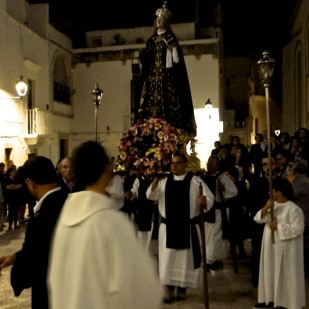 Procession through the streets after the Mass with the Statue of Our Lady of Seven Sorrows