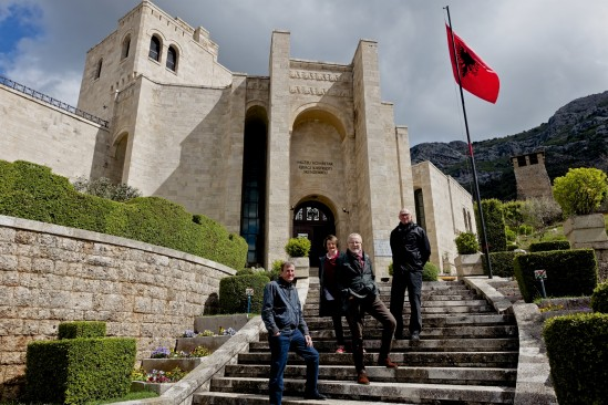 A spot of sunshine  for Ken, Pam, Edmundo and Michael in front of the Krujë castle, near Tirana in Albania and the centre of Skanderbeg's rebellion against the Ottoman Empire.