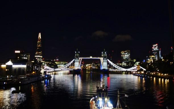 Arriving in London under Tower Bridge