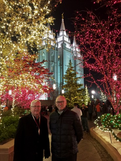 Andrew and Michael amidst the Christmas lights on Temple Square