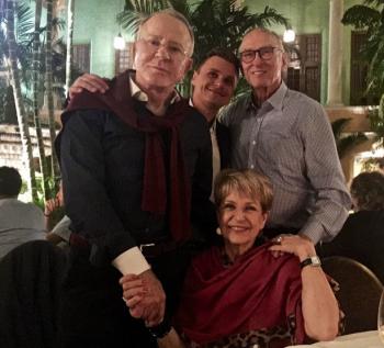 Edmundo, Konrad, Michael and Tere enjoying the evening in the balmy night air
