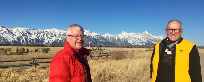Andrew and Michael with the Teton ranges as backdrop