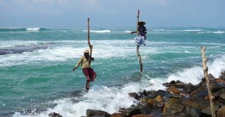 Stick fishermen of Weligama on the South Coast of Sri Lanka