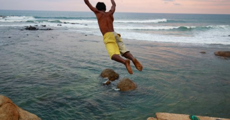 The boys dive for us from flag rock (for a few dollars 'to feed the hungry families')