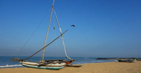 On the beach in front of the Jetwing Beach Hotel in Negombo