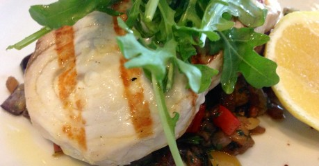 Grilled Swordfish, done to just under the turn, with caponata and rocket salad - at Fratelli Fresh