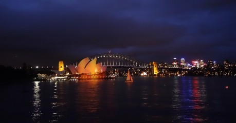 Sydney Opera House and Harbour Bridge from where we were enjoying a chilled Semillon from the Hunter Valley