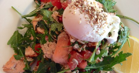 Salad of sumac-crusted flaked salmon with peas. almonds, pomegranate and soft egg. Healthy, light and delicious! At Flat White Woollahra