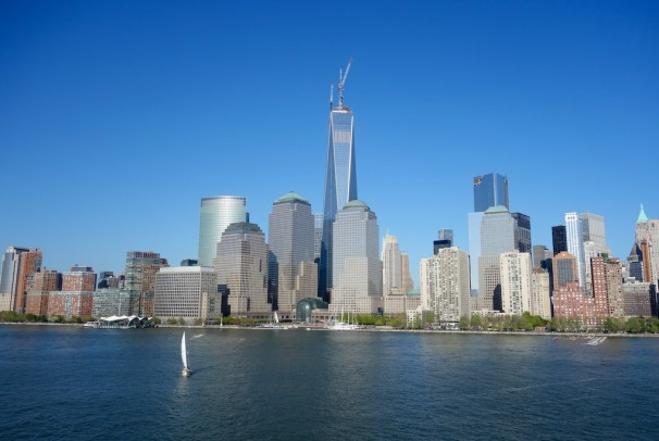Sailing past Lower Manhattan with World Financial Centre in front of Freedom Tower