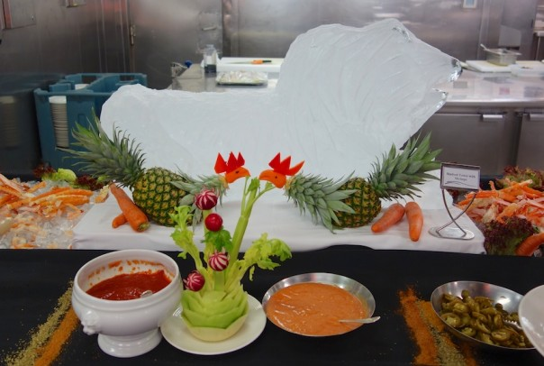 A selection of crab claws and shrimp in the galley