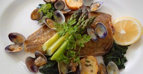 Delicate Lemon Sole with the sweetest clams and crabcakes