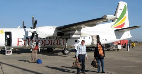Pam and Ken preparing to fly to Bahir Dar
