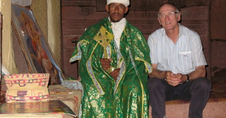 Michael with priest in House of Emmanuel - Lalibela