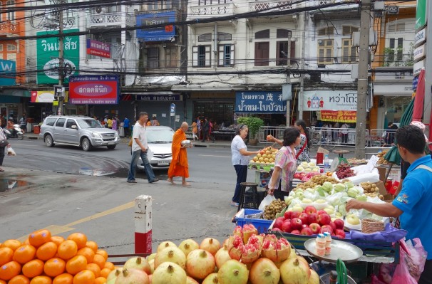 Early morning  street scene in Bangkok - before the heat and the crowds