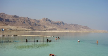 Floating in the Dead Sea, 423 metres below sea level - the water feels like oil on your hands