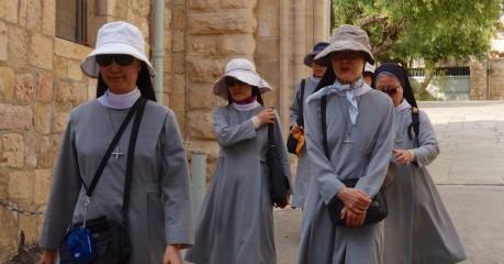 Japanese nuns leaving the Church of St John the Baptist in Ein Kerem