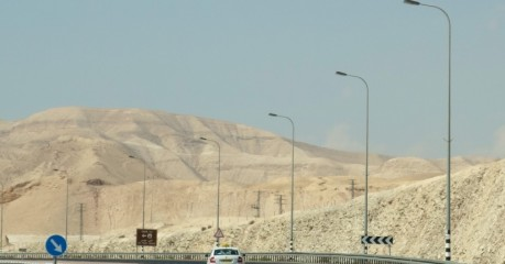 Inhospitable and unforgiving landscape in the Judaean Desert . . . a new road through the West Bank