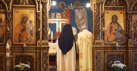 The Mass in the Byzantine Rite commences behind the iconostasis