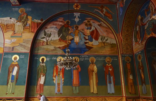 The entire interior is richly adorned with frescoes in vibrant colours.